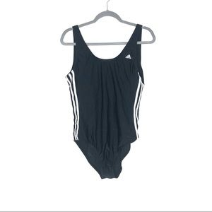 Adidas 3 Stripe Women's Black and White One Piece Swim Suit Size 12